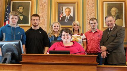 Representative Curt Hanson welcomed FHS students and instructor Ann Johnston on Monday, March 12, 2012.