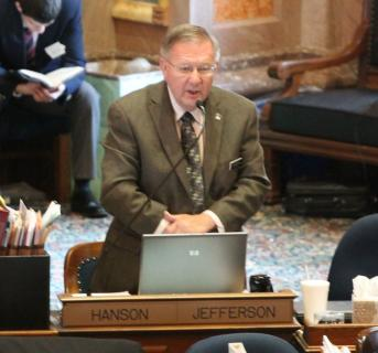 Representative Curt Hanson speaking on a bill in debate on the House Floor.